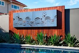 Outdoor Living By The Pool With Entanglements Laser Cut Metal Art Modern