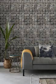 tapete mosaik fliesen braun und schwarz esta home
