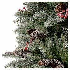 Silvertip Fir Christmas Tree by Slim Christmas Tree 210 Cm Flocked Dunhill With Pine Cones