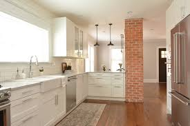 We Removed The Wall Separating Kitchen From Dining Room And Exposed Brick Column That Was Hidden In Opening Up Really Makes