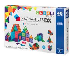 magna tiles clear colors 48 piece deluxe set magnatiles