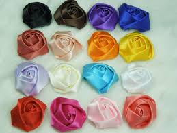 Free Shipping Mini Satin Rolled Ribbon Rose Flowers Head DIY Handmade For Headwear Accessories Mix Color 120pcs Lot