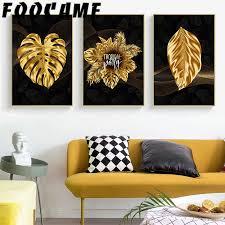monstera nordic tropische pflanze goldene blätter dekoration malerei wohnzimmer wandbild poster druck moderne bilder wand kunst leinwand