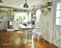 KitchenDazzling Shabby Chic Kitchen With Vintage Decor On Custom Shelves Also Off White Color