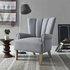 Gray Channel Tufted Nailhead Trim Accent Chair