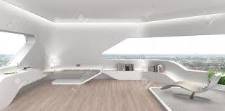 fictitious 3d rendering eines futuristischen modernen wohnzimmer innenraum mit fiktiven buchumschläge