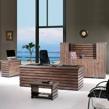 CASA MARE ELISE 4 Pieces Office Furniture Set | Home Office Furniture |  Office Desk | Executive Desk | Rustic Brown & Black (87