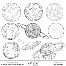 Black and White Cartoon Planets Digital Clip Art by NPolandDesigns