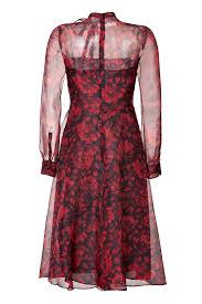 valentino silk organza floral print dress in black red florals