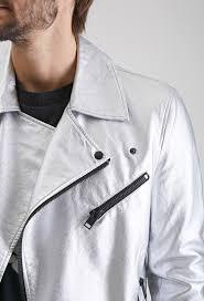 forever 21 metallic faux leather moto jacket in metallic for men