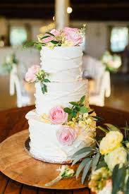 The Bride Requested A Semi Plain Buttercream Cake With Fresh Flowers For Their Rustic Looking Wedding