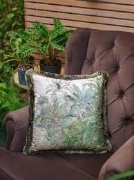casa padrino luxus deko kissen palmen landschaft creme grün 45 x 45 cm bedrucktes samt kissen mit fransen wohnzimmer deko accessoires