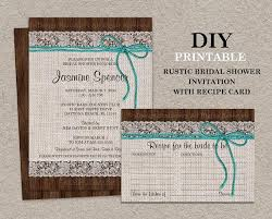 Rustic Turquoise Bridal Shower Invitation With Recipe Card DIY