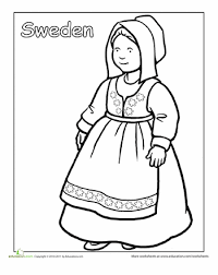 Kid Worksheets Multicultural Coloring Sweden