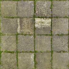 Seamless Pavement Texture Of Square Cement Tiles Set In Even Pattern With Some Vegetation