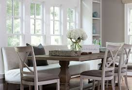 Upholstered Dining Room Bench With Back Table And Chairs Transitional