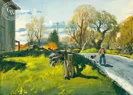 Country Road Westport c 1950 s art by Har Gramatky