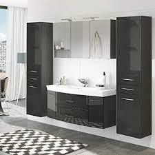 lomadox badezimmer set in hochglanz grau 120cm waschtisch