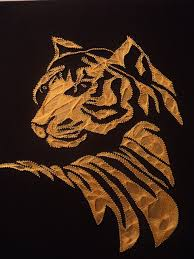 A Tiger Was Made In Filografi Art Which Is Called Too String