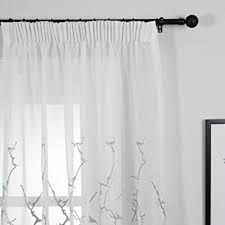 Amazon Uk Living Room Curtains by Top Finel Embroidered Branches Window Voile Net Curtains Lined