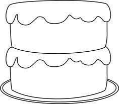 3rd Birthday Cake Clipart Black and White Popcorn