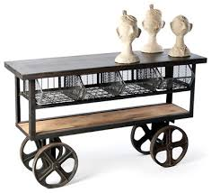 Industrial Rolling Console Table Eclectic Kitchen Islands And Carts