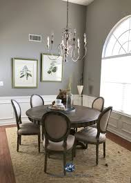 Sherwin Williams Pavestone In Dining Room White Wainscoting Arched Window And Tall Ceiling Kylie