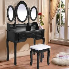 Costway Black Tri Folding Oval Mirror Wood Vanity Makeup Table Set
