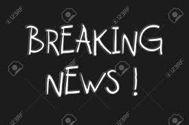 Breaking News Text With Black Background Stock Photo