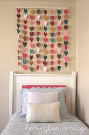Check Out DIY Paper Heart Wall Art Decalz TitleLo Sweet Little Girls Bedroom Headboard If Only I Can Do This With Rain Drops For My