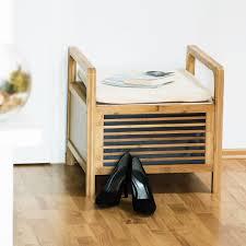 bambus sitzhocker mit stauraum große sitzbank kissen