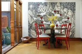 Art For Big Walls Ideas Large Dining Room Contemporary With Linen Upholstery Pedestal Table Bold