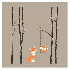 Birch Decal With Buck Seven Trees Decals Nursery