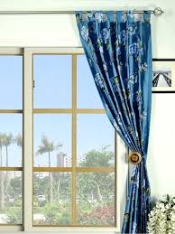 Blue Curtains For Living Room Blackout Embroidered Floral Tab Top Silk Traditional