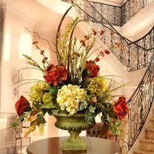 Artificial Floral Arrangements For Home Peony And Hydrangea Silk Flower Arrangement With Feathers Modern