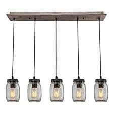 LNC Wood Pendant Lighting 5 light Glass Mason Jar Ceiling Lights