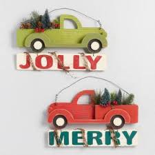 Wood Truck Holiday Signs Set Of 2