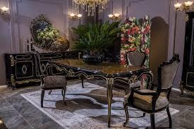 casa padrino luxus barock esszimmer set silber schwarz gold 1 esstisch 6 esszimmerstühle prunkvolle esszimmer möbel im barockstil