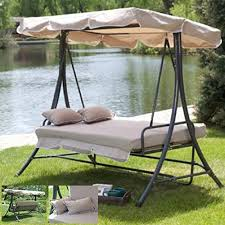 Outdoor 3 Triple Patio Deck Hammock Swing Bed Tan Relaxing Hammock