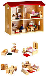 puppenhaus mit kompletter einrichtung für küche badezimmer wohnzimmer und schlafzimmer inkl 4 biegepuppen maße 32 x 48 x 42 cm gewicht 9 3 kg