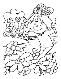 Spring Coloring Pages Boy Catching Butterfly