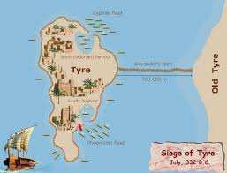 siege bce map of the siege of tyre by the great in 332 b c e