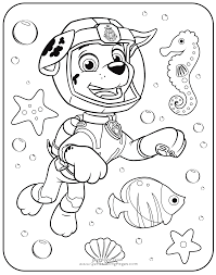PAW Patrol Coloring Pages Marshall Underwater