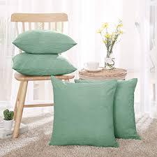 deconovo kord sofakissenbezug kissenhülle wohnzimmer landhausstil 40x40 cm grün 4er set