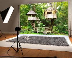 100 Tree House Studio Wood Laeacco 7x5FT Vinyl Photography Background Fairytale Forest Cute En Tropical Forest Kids Children Ladder S Backdrops Lover