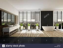 geräumiges badezimmer mit stilvollem dekor einem hellen