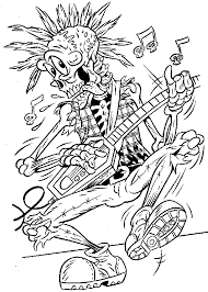 Halloween Coloring Pages Of Skeleton Rockstar