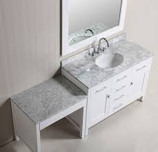 36 london single sink vanity set in white with one make up table