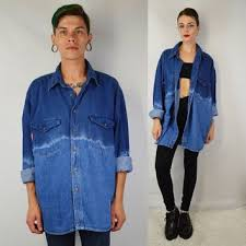 90s Denim Shirt MEN XL Large Soft Grunge Dip Dye Gradient Oversize Vintage Mens Clothi