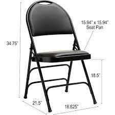 Samsonite Comfort Series Steel & Vinyl Folding Chair - Vinyl Black Seat -  Vinyl Black Back - Powder Coated Steel Frame - Four-legged Base - 15.94